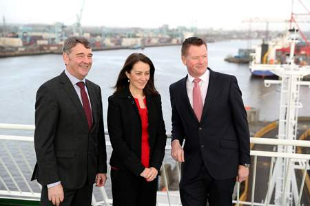 Pictured on board Irish Ferries 'Ulysses' at Dublin Port launching 'Our Ocean Wealth Summit' are l-r Dr. Peter Heffernan, Chief Executive, Marine Institute, Yvonne Thompson, Tax Partner, PwC and Declan McDonald, Advisory Partner, PwC.   The conference is part of the 2017 SeaFest , hosted by the Marine Institute and forms a key part of the Government's integrated plan for Ireland's marine sector, Harnessing our Ocean Wealth.  The Summit is themed 'Rethinking Boundaries and Innovation for a Sustainable Marine Economy' and will take place on Friday 30 June 2017 in the National University of Ireland, Galway and will bring together world renowned speakers, industry experts, business development agencies and the Irish business and marine research community.