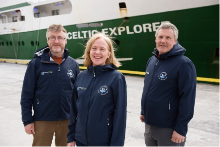 (LtoR) Dr. Evin McGovern, Principle Investigator, Marine Institute; Dr. Caroline Cusack, Project Manager, Marine Institute; and Prof. Peter Croot, Chief Scientist, NUIGalway getting ready for the GOSHIP expedition. Photo Andrew Downes Xposure