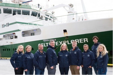 GOSHIP team in Galway Ireland getting ready for their expedition on the RV Celtic Explorer. Photographer Andrew Downes Xposure