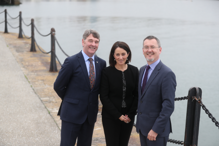 Marine Institute CEO Peter Heffernan, Yvonne Thompson, Partner at PwC and Jim O'Toole, CEO of BIM, Ireland's Seafood Development Company at the launch of Our Ocean Wealth Summit 2018 sponsored by PwC, which takes place on 28 and 29 June in Galway.   The 2 day conference will focus on Ireland's multi-billion euro marine economy, discussing the impact of Brexit, smart shipping, sea and airfreight logistics and Ireland's seafood sector, marine renewables, marine research, maritime commerce, financial planning for the marine, climate change and more.